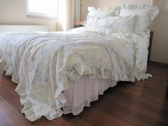 Cream Pastel Blue Floral Ruffled Bedding Queen Size By