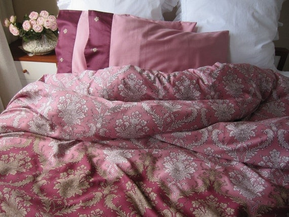 Duvet Cover Dusty Pink Burgundy Damask Print King Full Queen