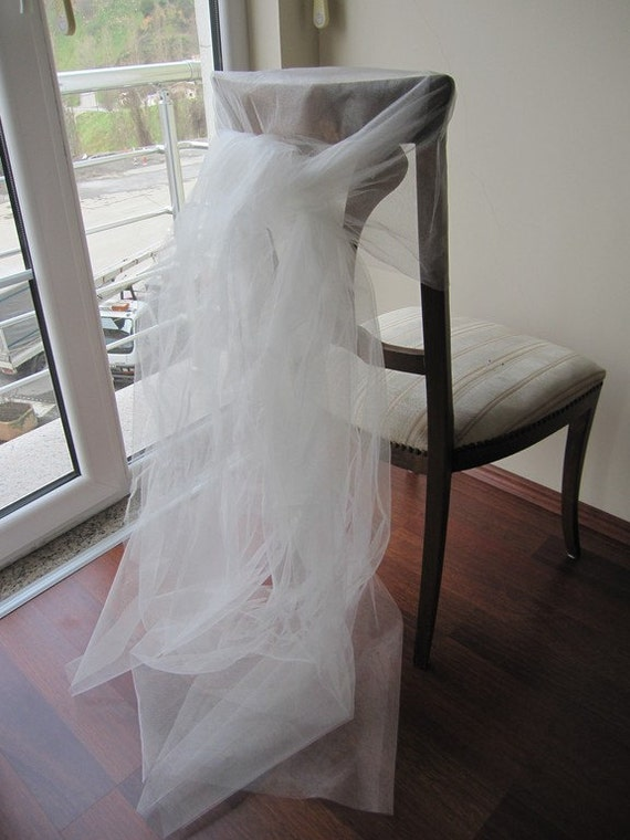 Items similar to Wedding chair tulle tutu Veil Sash Bows for – Tulle Chair Bows