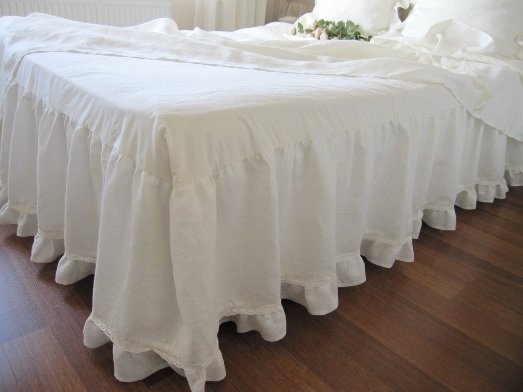 Linen King Bed Skirt In Ivory