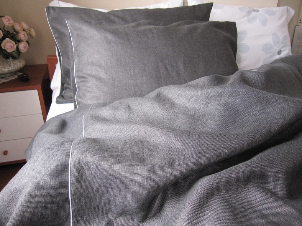 Black Charcoal Dark Gray Linen Queen Or King Duvet Cover With