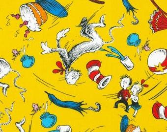 Fat Quarter of Celebration Cat in the Hat Yellow Crash by Dr. Seuss Enterprises for Robert Kaufman