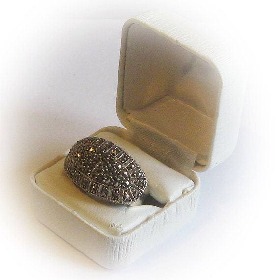 Sterling Silver Ladies Marcasite Cut Crystal Cocktail Cluster Ring RESERVED