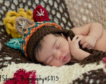 Newborn baby prop-Crochet baby Indian hat-Crochet Indian beanie-baby prop-indian princess-newborn prop-photo prop-baby shower gift