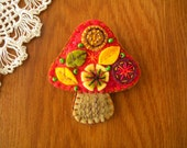 Mushroom Brooch Earth color Organic motif on Red