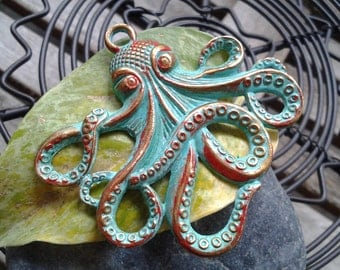 Patina Red Large Octopus Charms (2)