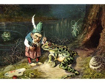 Gnome with Frog Print - Paints Spots Repro Old Man of the Woods