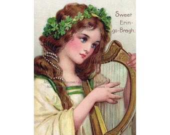 St Patricks Day Greeting Card - Irish Girl with Harp - Vintage Style Note Card