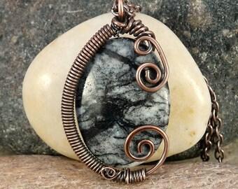 Wire Wrapped Picasso Jasper Pendant Necklace, Copper.