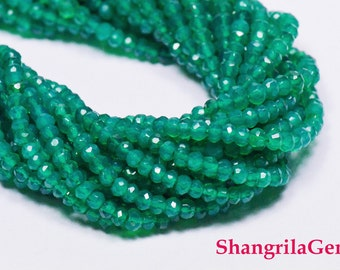 """13.5""""  3mm Green onyx faceted beads  GON001"""