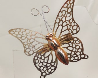 Vintage Gold Filigree Butterfly Pin