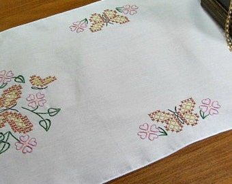 Hand embroidered table runner, dresser scarf