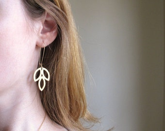 Gold Plated Dangle Leaves Earrings w/ Gold Filled Earwires