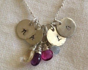 Mothers Gemstone Sterling Silver Custom Necklace for Four Children.  Initials. Available in Greek and Hebrew.Grandma Nana.Reclaimed Silver.