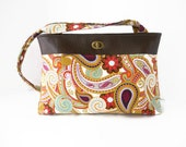 Large Purse / Shoulder Bag / Twist Lock Closure / Faux Leather / Silk Road Paisley / Wilmington Prints - SunflowerTotes