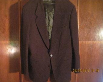 Vintage Valentino Men's Dark Maroon Blazer Jacket with 100% Virgin Wool, 38 R