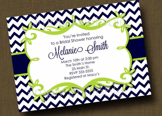Navy/Lime Green Chevron Bridal Shower Invitation