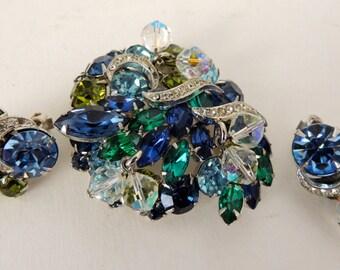 Kramer rhinestone demi parure brooch and earrings         VJSE
