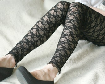 CLEARANCE SALE Black lace with little flowers leggings
