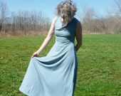 Organic Clothing - Maxi Dress - Sleeveless Drape Neck - Organic Cotton Bamboo - Shown in Water - Made to Order