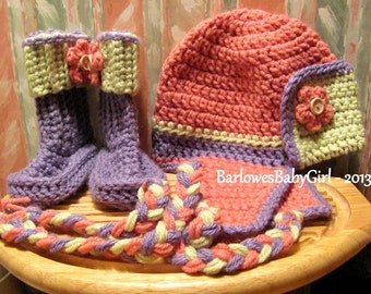 Buggs Crochet Girl's Bomber/Aviator Hat and Booties in Rasberry, Lavender, and Celery w/ Flower and Button Accents