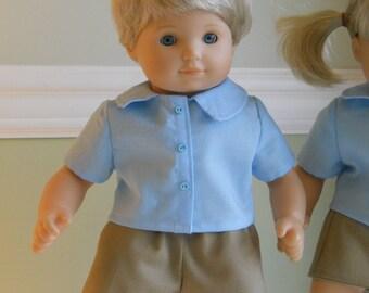 15 inch Doll Clothes fits American Girl Bitty Baby Boy - School Uniform