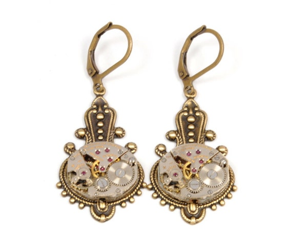 Steampunk Earrings VICTORIAN Steampunk Vintage Watch Earrings Antique Brass Steampunk Wedding Steam Punk Jewelry by Victorian Curiosities