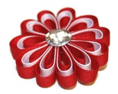 Red and White Loopy Ribbon Flower Hair Clip