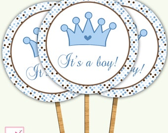 INSTANT DOWNLOAD Printable Its A Boy Prince Baby Shower Cupcake Topper - Polka Dots Baby Shower Party Favors Baby Shower Decorations