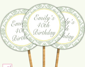 Printable Personalized Dainty Sage Green Damask Birthday Cupcake Topper - Vintage Yellow Polka Dots Party Decoration Custom Item