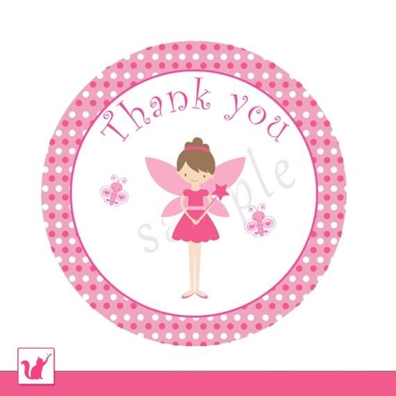 ... Thank You Tag Label - Circle Hot Pink Polka Dots Girl Baby Shower