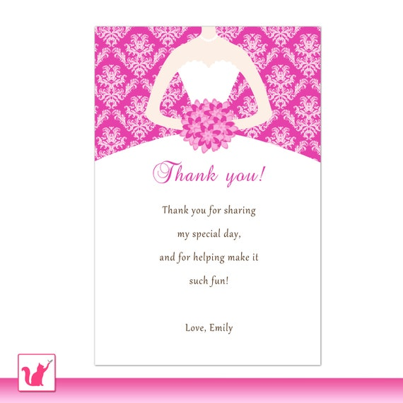 Thank You Samples For Wedding Shower Gifts : ... Thank You Card NoteWedding Bridal Shower Quinceanera Sweet 16