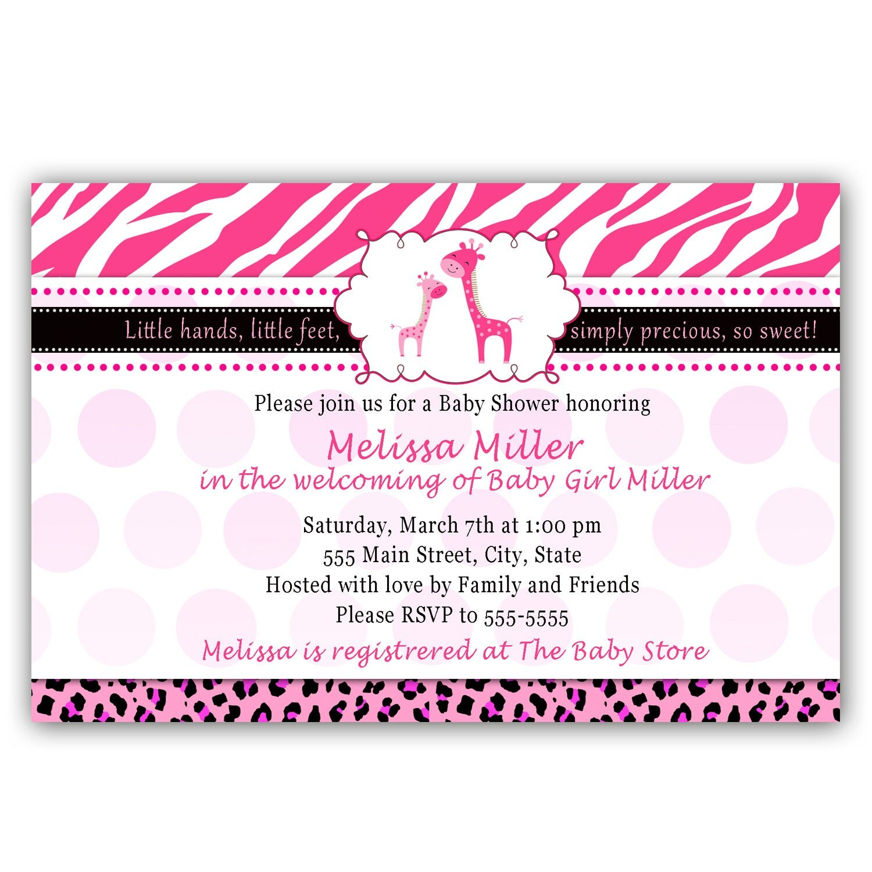 giraffe baby shower invitation card pink zebra by pinkthecat