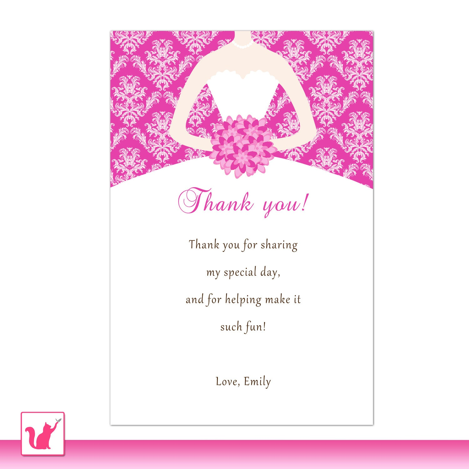 Wedding Thank You Note Wording: Printable Personalized Fuchsia Hot Pink Damask Thank By