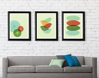 Mid Century Modern Bike, Bird, and Circle Wall Art Series // Free Shipping//Cyber Monday