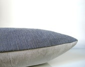 Blue throw pillow - blue herringbone pillow with natural linen, organic cotton, modern minimalist pillow