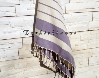 NEW-Turkishtowel-High Quality,Hand Woven,Natural,Organic,Cotton Bath,Beach,Spa,Yoga,Travel Towel or Sarong-Cream,Purple