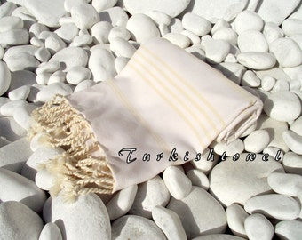 Turkishtowel-NEW Soft-High Quality,Hand Woven,Cotton Bath,Beach,Pool,Spa,Yoga,Travel Towel or Sarong-Natural Cream Stripes on Ivory