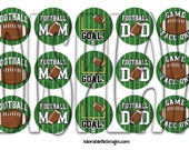 Football Mom and Dad Digital Bottle Cap 1 inch Round Images