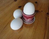 Pottery Egg Cups in Raspberry Red and Green for Farm Fresh Eggs