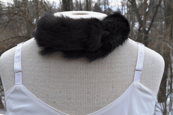 Reserved for Jess Vintage mink collar.  black fur with  white tip neck wrap. Baar and Beards fur scarf.