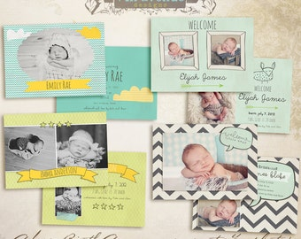 Adore Flat Birth Announcement CARD templates for photographers