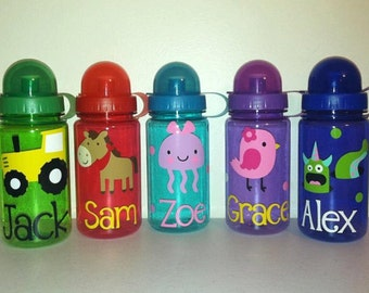 Personalized Kids Water Bottle, Kids Sports Bottle- Choose Your Design- Great Party Favors