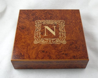 Monogrammed Cigar Humidor - Burl Color - 20 Cigar Capacity