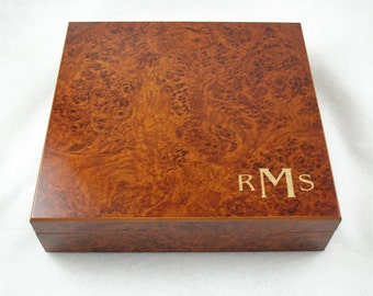 Qty of 2 Monogramed Cigar Humidor - Burl Color - 20 Cigar Capacity - QTY of 2