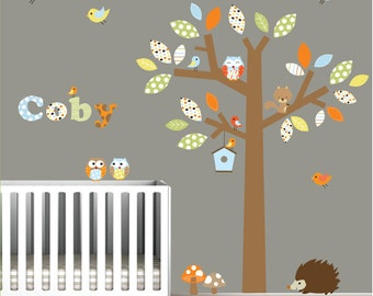 Vinyl Wall Decal Children Forest with Animals Name Decal-Nursery Stickers Decals