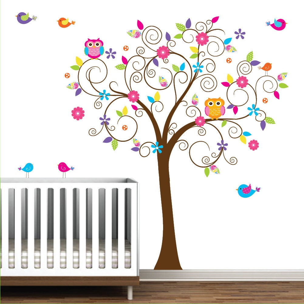 Baby nursery tree wall decal wall sticker tree wall decal tree for Sticker mural chambre fille