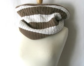 Khaki and White Stripes Cowl - EcoFriendly Cotton and Wool Reversible Scarf - Khaki and White : Upcycled Recycled Repurposed
