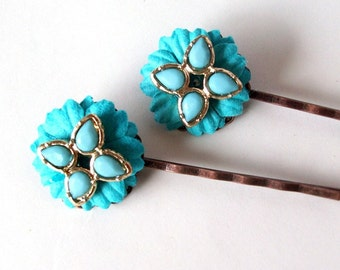 Flowered Vintage Bobby Pins- Set of Two Vintage Re-purposed Earring Hairpins, Flower Bobby Pins, OOAK