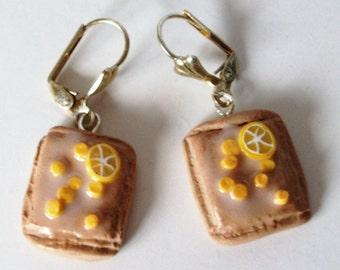 Lemon and sprinkles Pop Tarts Earrings, Junk Food Earrings